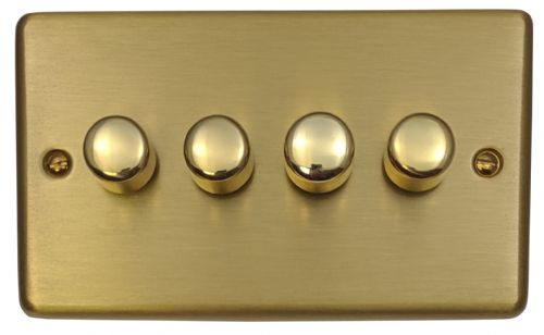 G&H CSB14 Standard Plate Satin Brushed Brass 4 Gang 1 or 2 Way 40-400W Dimmer Switch